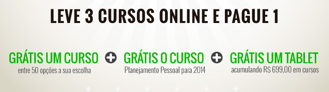 Natal Imperdível! Em dezembro antecipe seu Natal com muito conhecimento, você compra um curso online e ganhe mais dois cursos!